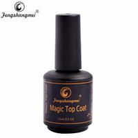 Wholesale Uv Nail Polish Sparkle - Wholesale-Fengshangmei Magic Glitter Top Coat For Gel Polish Sparkling Top Coat Nail Polish 15ml