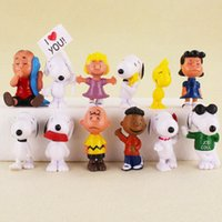 Wholesale Nail Finished - Peanuts Snoopy Movie Cartoon Charlie Brown Lucy Cute Nails 12pcs Set Anime Action Figures Pvc Toys Cake Topper