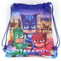 Wholesale 60pcs Cartoon PJMASKS Non Woven Fabric Drawstring Bag Kids Backpacks Birthday Theme Gift Bags Shopping Storage Bag