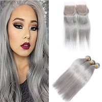 Wholesale Brazilian Hair Bundles Grey - 8A Grade Silver Grey Lace Closure With Bundles Pure Grey Straight Virgin Brazilian Human Hair Weaves With Top Closure 4Pcs Lot Gray Hair