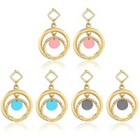 Wholesale Green Lantern Ring Jewelry - Gold Plated Geometric Double circles Earrings Alloy large small hanging rings Resin Lantern Charm statement Earrings Brand Jewelry LXE011