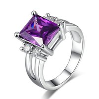 Wholesale Russian Plates Set - Visisap White gold color ring Russian Purple stone Wedding Rings For Women clear cubic zircon fashion Jewelry VSR202