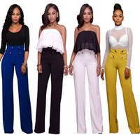 Wholesale High Waist Pants Cheap - Mix&Match Womens High Waist Sailor Wide Leg Pants Button Design Pants Jumpsuits Rompers 4 Color S-XL Wholesale Cheap DHL Fast Shipping
