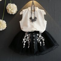 Wholesale Tutu Skirts For Children - 2017 Summer Baby Girl Cloth set lace blouse+skirt sets for girls children clothes tutu princess skirts Ball Gown baby girl clothing 2-7y