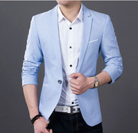 mavi kıyafetler toptan satış-Erkek Moda Rahat Blazer Suit Ceket Damat Düğün Takımları Erkekler için İş Mavi ve Siyah Sonra Slits S-4XL
