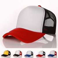 Wholesale Trucker Mesh Snapbacks - Designer Plain Mesh Baseball Caps For Adults Mens Womens Blank Trucker Cap Custom Logo Color Summer Sports Sun Hats Adjustable Snapbacks