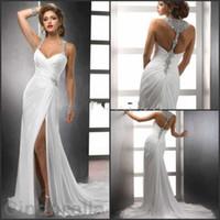Wholesale Thigh High Models - 2017 New Beading Sheath Wedding Dresses Side Split Spaghetti Crystal Sleveless Backless Sweep Train Long Elegant White Bridal Gowns