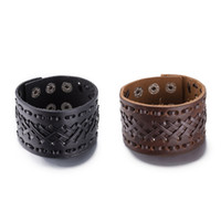 Wholesale Cuff Friendship Bracelets - 2017 Brown   Black Adjustable With Cross Leather Bracelet Punk Ride Bike Wide Cuff Leather Bracelet Retro Leather Men's Friendship Big Brace