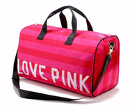 Women Fashion Sexy Love Pink Sacs à main en forme de baril Large Capacity Travel Duffle Striped Waterproof Sac de plage sac à bandoulière