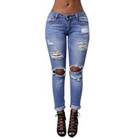 Wholesale High Waisted Button Denim Jeans - Wholesale- Blue Fashion Women Ladies Jeans Ripped Skinny Denim Hole Cut High Waisted Trousers New