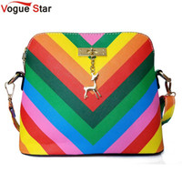 Wholesale Star A8 - Wholesale-Vogue Star 2016 Summber New women's messenger bag rainbow shell bag pu Leather small shoulder bags women purses and handbags A8
