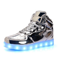 Wholesale White Led Button - 25-40 Size  USB Charging Basket Led Children Shoes With Light Up Kids Casual Boys&Girls Luminous Sneakers Glowing Shoe enfant