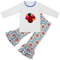Wholesale Turkey Clothes Wholesalers - Baby Girls Outfits Sets Thanksgiving Day Turkey Long Sleeve Cotton Kids Clothes Set T-shirt Tops + Long Pants 2pcs Sets Suits White A7354