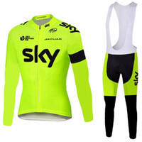 Wholesale Sky Thermal - 2017 Fluor sky Cycling jersey bike pant set winter thermal fleece long bike clothing MTB Ropa Ciclismo bicycling maillot Culotte
