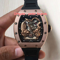 Wholesale black water dragon - Free shipping mens stainless steel clock rose gold case automatic movement rubber strap luxury watch tiger and dragon face wristwatch