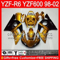 Wholesale Yamaha R6 Gold - 8Gifts 23Color For YAMAHA YZF600 YZF R6 YZFR6 98 99 00 01 02 54HM21 Gold black YZF 600 YZF-R600 YZF-R6 1998 1999 2000 2001 2002 Fairing kit