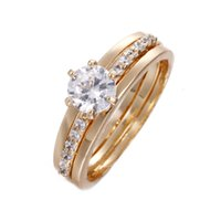Wholesale Rings Silver Zircon - 2017 newest fashion wedding rings the combination of high quality zircon inlaid with trendy jewelry rings silver gold plated colors