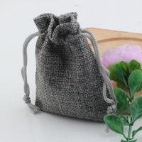 Wholesale linen fabrics wholesale online - Hot Gray Linen Fabric Drawstring bags Candy Jewelry Gift Pouches Burlap Gift Jute bags x9cm x14cm x18cm x20cm
