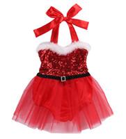 Wholesale Cute Santa Girl Outfit - Cute Toddler Baby Girls Rompers Jumpsuit Santa Tutu Dress Christmas Outfits 0-3T kids dress Xmas baby girls romper dress
