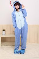 Pigiama Blu Kigurumi Pigiama Stitch Cosplay Costume Halloween Costume Adulto Tappetini Fumetto Animal Unisex Sleepwear