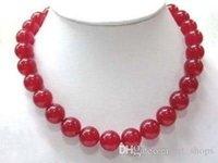 """Wholesale 12mm Red Round Beads - FFREE SHIPPING**Beautiful! 12mm Red Ruby Gemstones Round Beads Necklace 18"""" AAA Grade"""