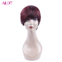 Wholesale dark wine brown hair - Human Hair Wigs Bob 1B 99J Burgundy Ombre Short Bob Wine Red Wig Straight 10 inch Human Bob Hair For Women