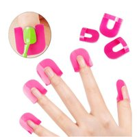 Wholesale Nail Stickers Glue - Wholesale- Manicure anti overflow clip model clip nail polish glue stickers gradient glue overflow preventing replacement finger covers kit