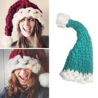 Wholesale Warm Santa Hat - Christmas Winter Warm Raccoon Fur Beanie Cap Cotton Knitted Winter Vogue Crochet Santa Claus Beanie Hats Women Parent-Child Hat Xmas YYA619