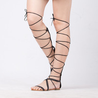 Wholesale String Zip - New 2017 Shoes Women Sandals Lace Up Sexy Knee High Boots Gladiator Tie String Casual Flat Designer Top Quality Size 4-10