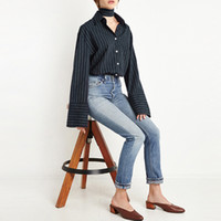 Wholesale Button Down Back Shirt - omen's Clothing Blouses Shirts HDY Haoduoyi 2017 Autumn Fashion Women Solid Stripes Tie Back Single Breasted Blouse Turn-Down Collar Long...