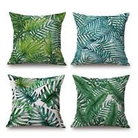 menekşe bitkileri toptan satış-Palmiye Yaprağı Yastık Örtüsü Tropikal Bitki Kalın Keten Pamuk Yastık Örtüsü 12 Stilleri 45X45 cm Yatak Odası Kanepe Dekorasyon