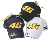 Wholesale Baseball Signature - THE DOCTOR VRFORTYSIX Motorcycle Caps Hat For Valentino Rossi Signature 46 VR46 black yellow Sun Visors Baseball Cap Moto GP