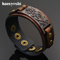 Wholesale wide bracelets wholesale - Wholesale-Punk Unisex Wide Rivet Genuine Leather Bracelet Mens Womens Wrap Bracelet Bangle homme Khaki Color 2016 Fashion Jewelry