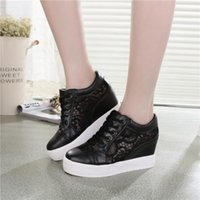 Wholesale Girls Hollow Shoes - 7 CM high heeled women girls fashion shoes mesh net Hollow shoes increased within sneakers -black