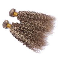 Wholesale Medium Blonde Curly Hair Extensions - Brazilian Virgin 9A Human Hair Bundles 3Pcs Mix Piano Color #8 #613 Deep Curly Hair Weft Medium Brown And Blonde Hair Extensions