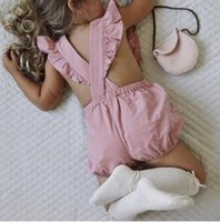 Wholesale Sexy Girls Laces - 2017 INS baby girl toddler Summer clothes clothing Pink Lace Ruffle Romper Onesies Jumpsuits Diaper covers Bloomers Overall Hollow Sexy Back