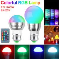 Wholesale E14 Led Dimmable Bubble - 3W 5W 7W RGB Led Spot light Bulb Bubble Ball Lamp E27 E14 AC85-265V Dimmable Magic Holiday RGB Lighting+Remote Control