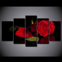 Red Rose Flower Painting 5 Pcs / set Unframed Canvas Print Wall Art Pictures For Living Decoração para casa Wall Poster gift unique