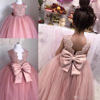 Blush Pink Toddler Pageant Dresses Sin Mangas Plisados Tulle Ball Vestido De Encaje Vestidos De Graduación Niños Hasta El Suelo Con Espalda Abierta