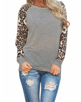 Wholesale Ladies Plus Tops - Fashion 2017 New Women Ladies Spring Autumn Long Sleeve Leopard Loose Casual Tees Tops T Shirt 3 Colors Plus Size S-2XL