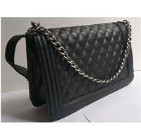 Wholesale Hot Single Ladies - HOT Fashion Women Leather Crossbody Designer Handbag Cover Plaid Chain Ladies Shoulder Bags Black Classic Messenger Bags free shipping