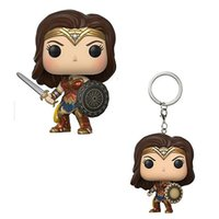 Wholesale most popular toys - 2017 Most Popular Vinyl Wonder Women 10cm POP And 4cm POP Poclet keychain Movie Action Fugures Toy, EMS free shipping