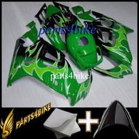mercado de accesorios de motocicletas de plástico al por mayor-Carenado plástico de la motocicleta para Honda CBR600F3 1995-1996 95 96 CBR600 F3 1995 1996 llamas verdes ABS Aftermarket Aftermarket