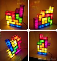 mesas de cubo con luz led al por mayor-Tetris Puzzle Lámpara LED Bloque Construible Mesa de cama pequeña Decorativa Luz Nocturna Apilable Novedad cubo mágico regalo de Navidad