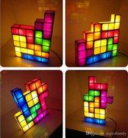lampes à puce achat en gros de-Tetris Puzzle lampe LED Constructible Bloc Table lit petit Décoratif Empilable Night Light Nouveauté Magique cube cadeau De Noël