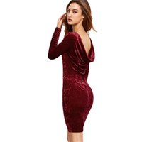 Wholesale Long Sleeve Evening Wear Wholesalers - Women sexy party dress noble velvel dress lady evening dresses backless long sleeve round neck bodycon clothes club night wear ML-8007