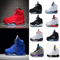 Wholesale Green Suede Lace Up - Air retro 5 men Basketball Shoes Olympic OG metallic Gold Raging Bull Red blue Suede Black Metallic Space jam Fire Red Sport Sneakers