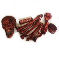 neuheit knochen großhandel-Neuheit Halloween Rotting Kunststoff Knochen Life Size Knochen 14Pieces für Escape Haus Halloween Props Halloween liefert Dekoration