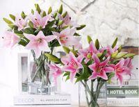 Wholesale Desk Ornament - Wedding Decoration Artificial Flowerspvc perfume lily fresh style desk ornaments artificial flowers decoration flower 20 PCS Lot