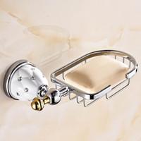 Wholesale bathroom soap baskets resale online - Eco Friendly Golden Finish Brass Flexible Soap Basket Soap Dish Soap Holder Bathroom Accessories Bathroom Furniture Toilet Vanity